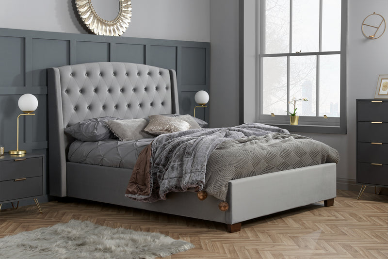 Florence Super King Size Bed Grey