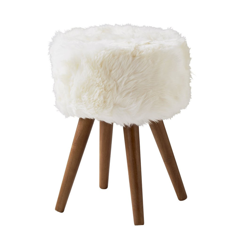 Middleton Solid Oak Fluffy White Stool