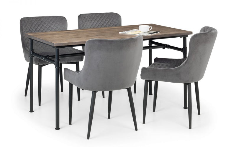 Carnet Dining Table & 4 Luxe Grey Chairs