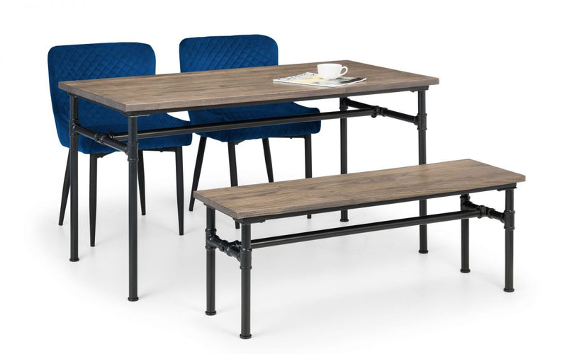 Carnet Dining Table, Bench & 2 Luxe Blue Chairs
