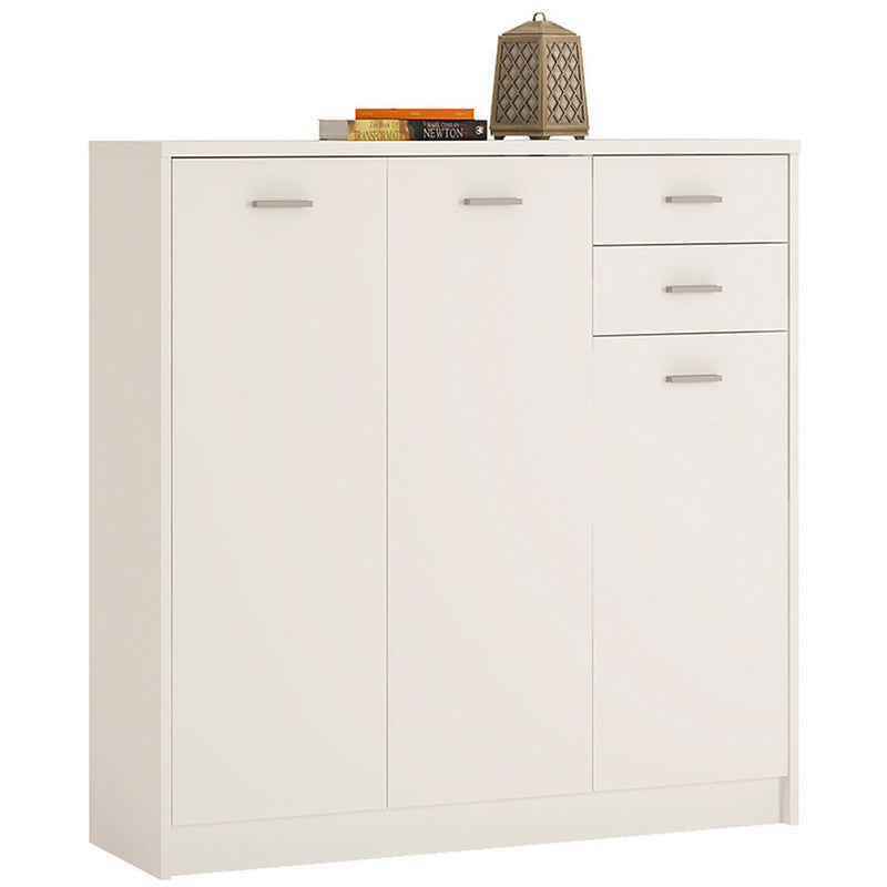 New York Tall 3 Door 2 Drawer Cupboard White