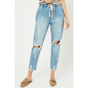 Distressed Drawstring Denim Jeans