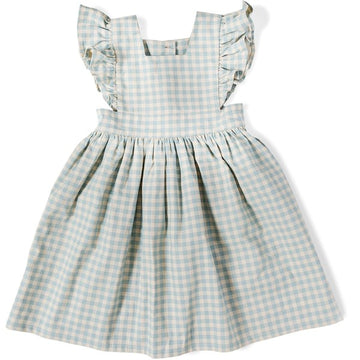 Wren & James Pinafore Sky Blue Gingham Linen Dress