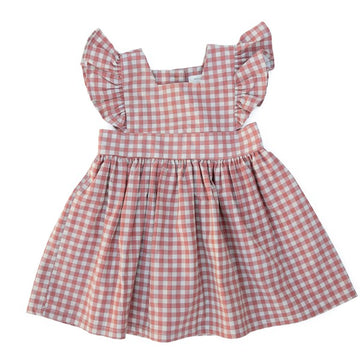 Wren & James Pinafore Rust Gingham Linen Dress