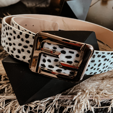 White Spotted Leo Buckle Belt