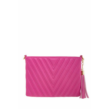 Pink Chic Chevron Quilted Clutch with Tassel Charm