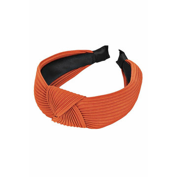 Ribbed Fabric Knotted Head Band Orange
