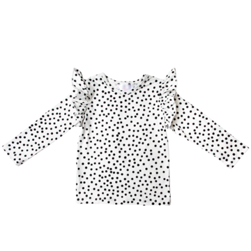 Scattered Dot Ruffle L/S Tee