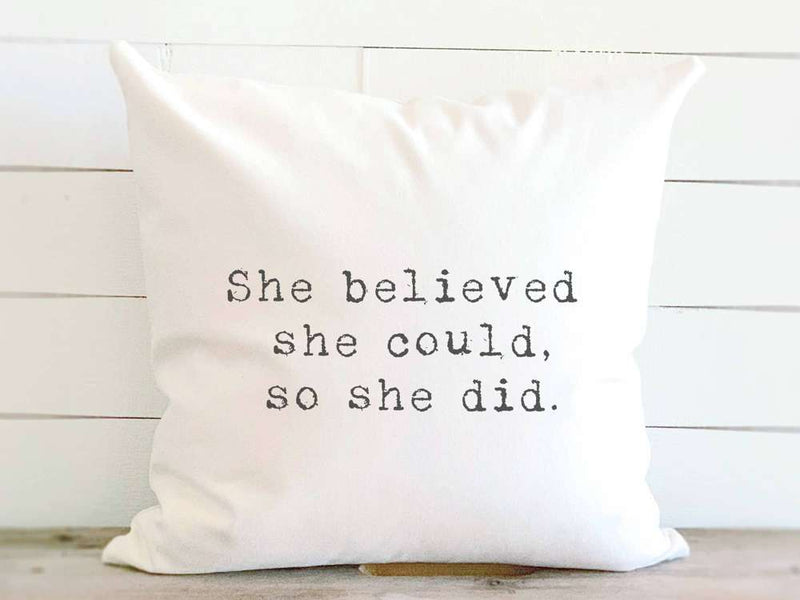 """She Believed"" - Cotton Canvas Pillow"