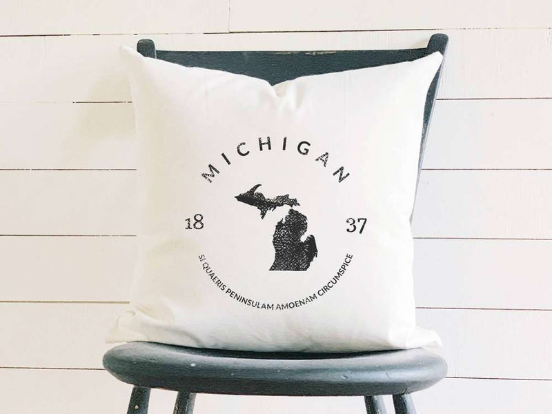 Michigan Home State Badge and Motto Cotton Canvas Pillow