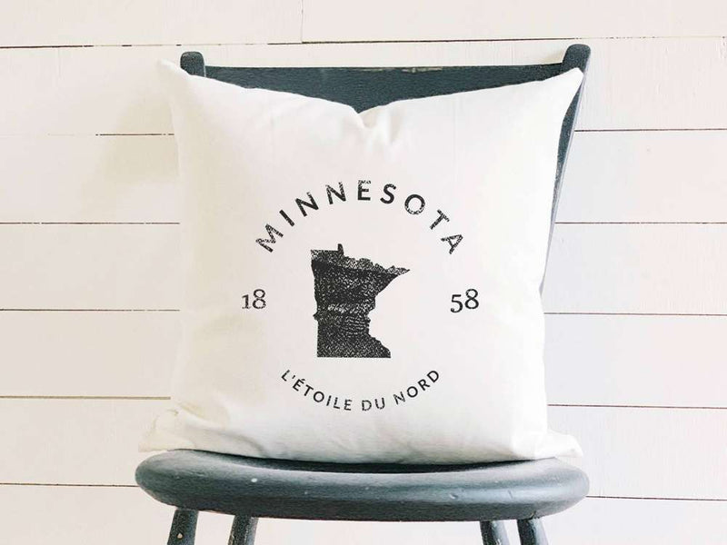 Minnesota Home State Badge and Motto Cotton Canvas Pillow