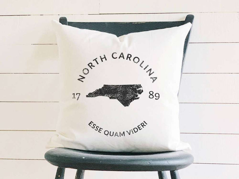 North Carolina Home State Badge and Motto Cotton Canvas Pillow