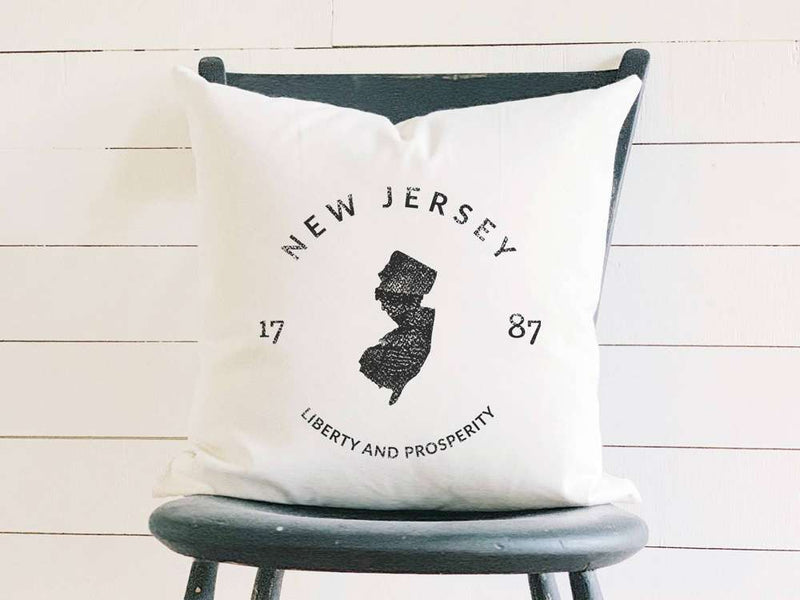 New Jersey Home State Badge and Motto Cotton Canvas Pillow