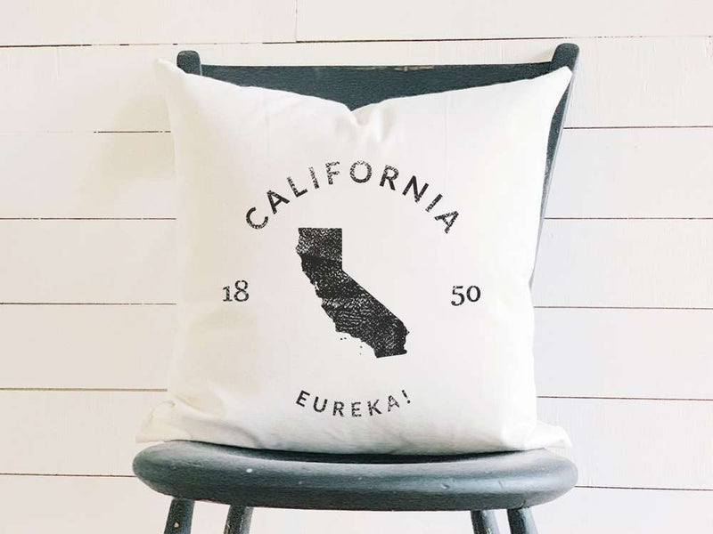 California Home State Badge and Motto Cotton Canvas Pillow