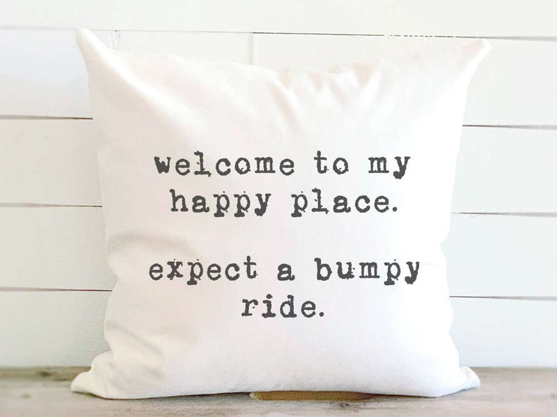 Happy Place - Cotton Canvas Pillow