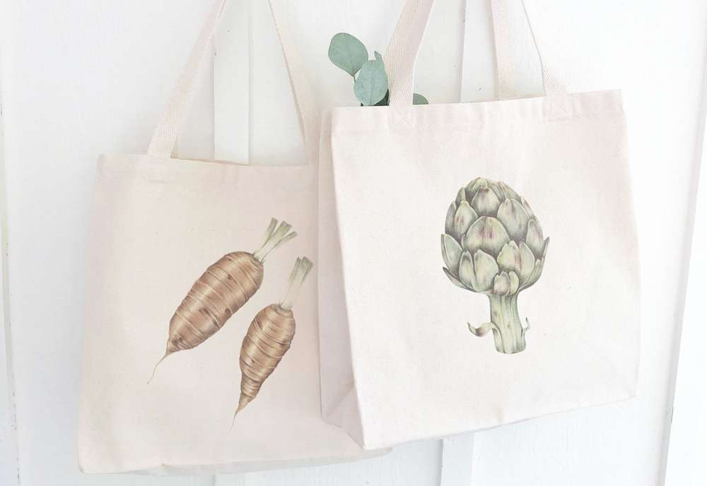 Christmas gifts,Foodie Gifts for Men,Set of Canvas Market Tote Bags With Vintage Vegetable Illustrations,reusable grocery bag,shop local