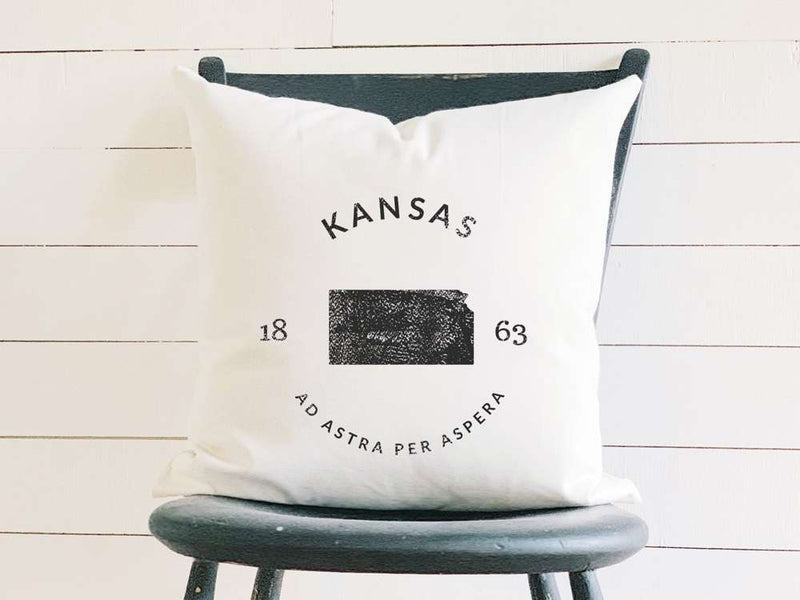 Kansas Home State Badge and Motto Cotton Canvas Pillow