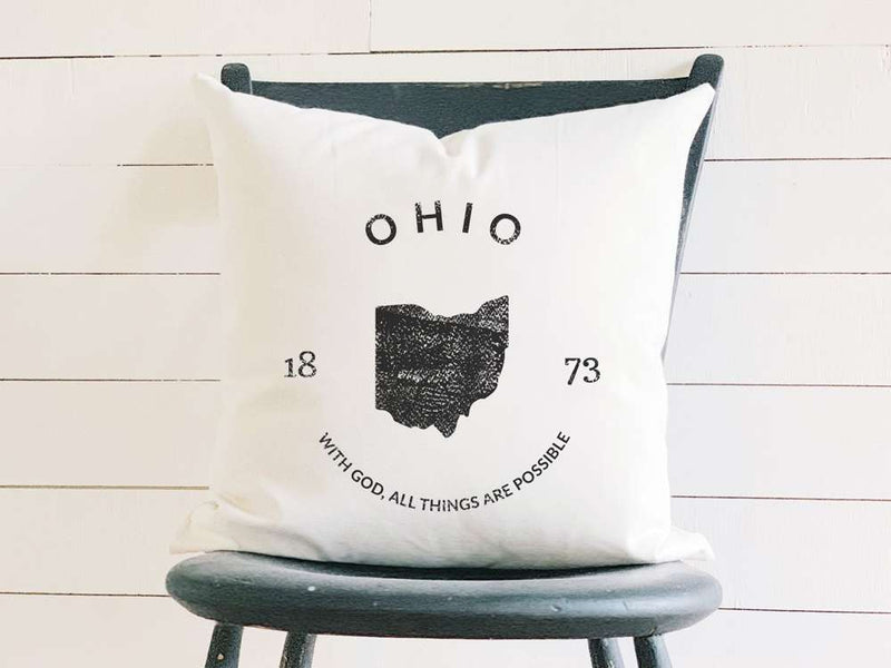 Ohio Home State Badge and Motto Cotton Canvas Pillow
