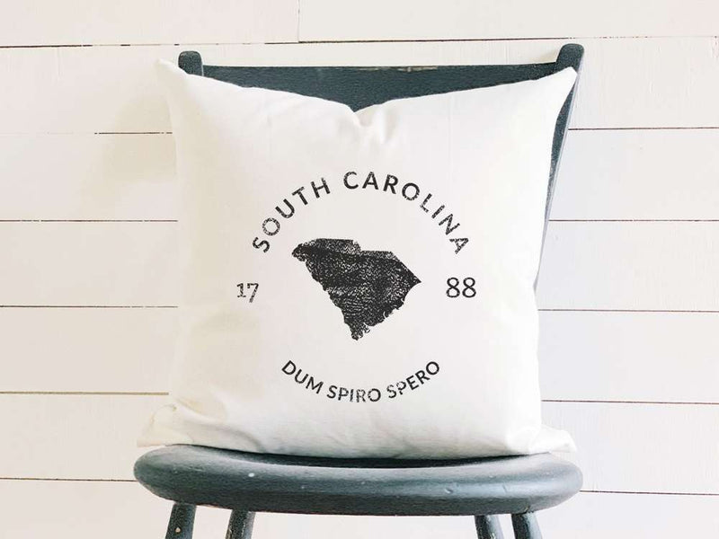 South Carolina Home State Badge and Motto Cotton Canvas Pillow