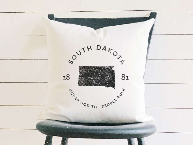 South Dakota Home State Badge and Motto Cotton Canvas Pillow