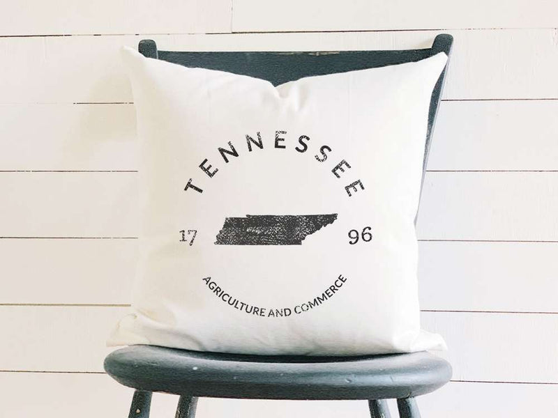 Tennessee Home State Badge and Motto Cotton Canvas Pillow