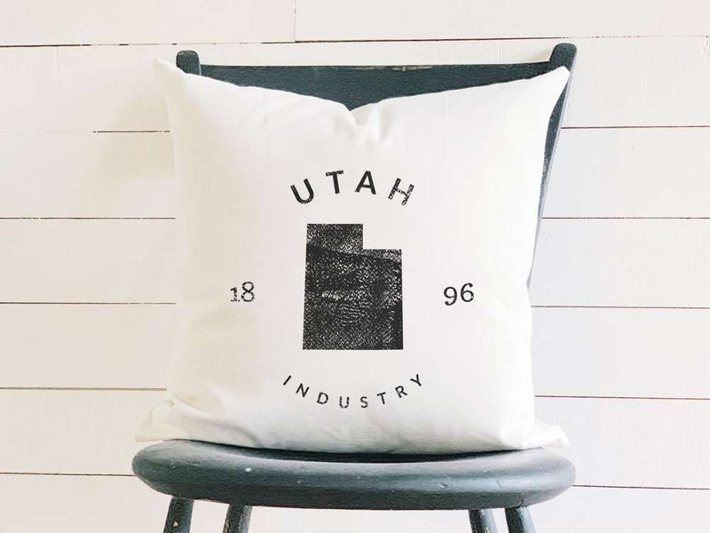 Utah Home State Badge and Motto Cotton Canvas Pillow