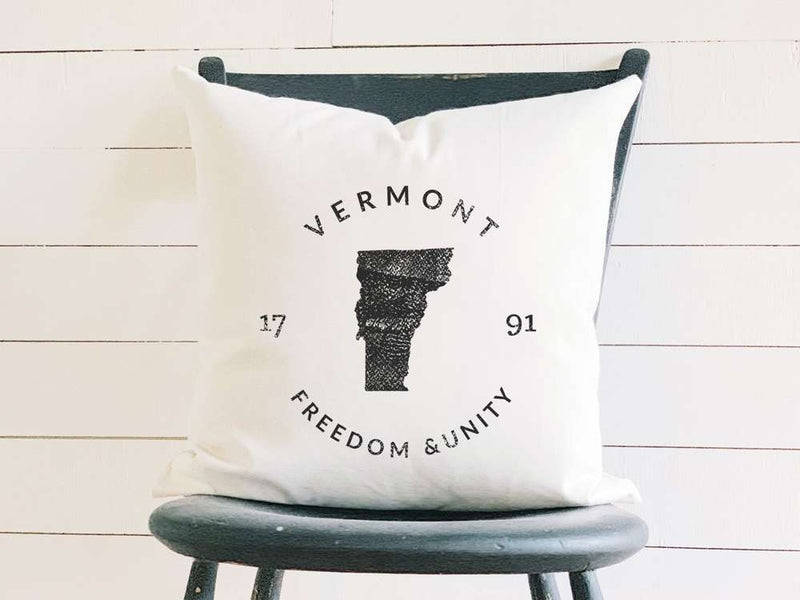 Vermont Home State Badge and Motto Cotton Canvas Pillow