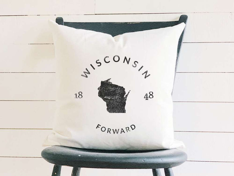 Wisconsin Home State Badge and Motto Cotton Canvas Pillow