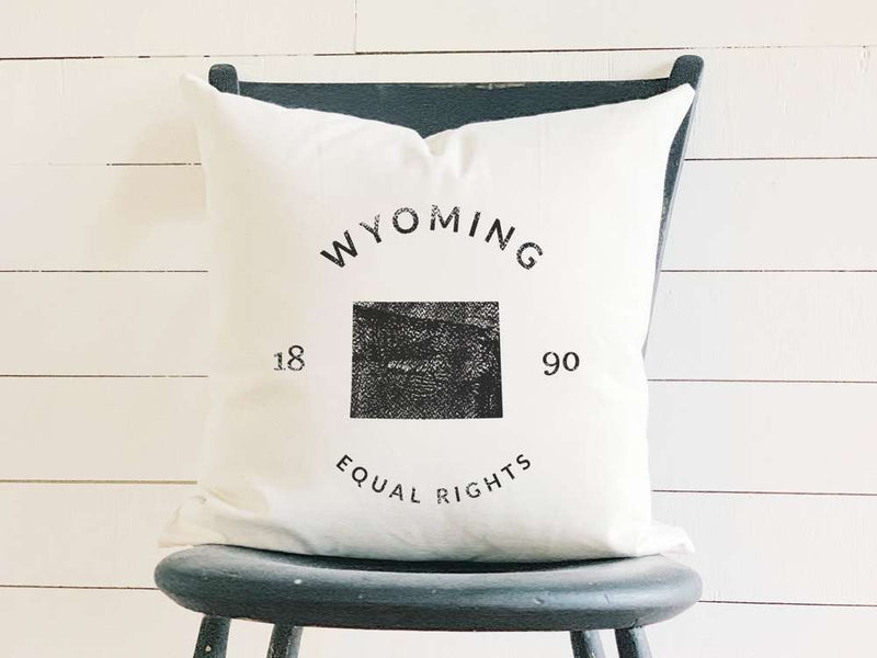 Wyoming Home State Badge and Motto Cotton Canvas Pillow