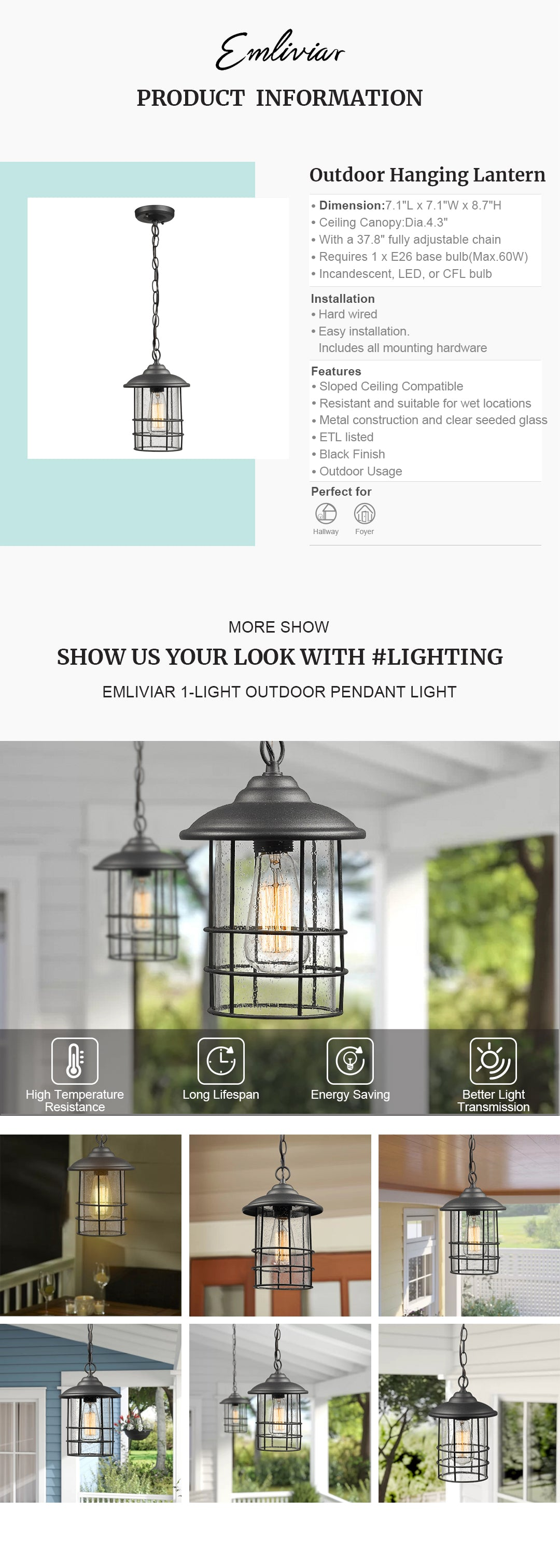 """Weather resistant and suitable for wet locations, this outdoor hanging light fixture features sturdy metal construction and clear seeded glass in black finish Easy installation with open bottom to allow for easy bulb replacement. Includes all mounting hardware. cUL listed with a one-year warranty Hard wired. Requires 1 x E26 base bulb(Max.60W). Bulb NOT included. Available bulb type: incandescent, LED, or CFL bulb This exterior pendant light fixture is sloped ceiling compatible, suit the needs of your space. Perfect for porch, patio, gazebo, foyer, garage, hallway and entryway Dimension: 7.1"""" x 7.1"""" x 8.7""""(L x W x H); Ceiling Canopy: Dia.4.3""""; With a 37.8"""" fully adjustable chain"""