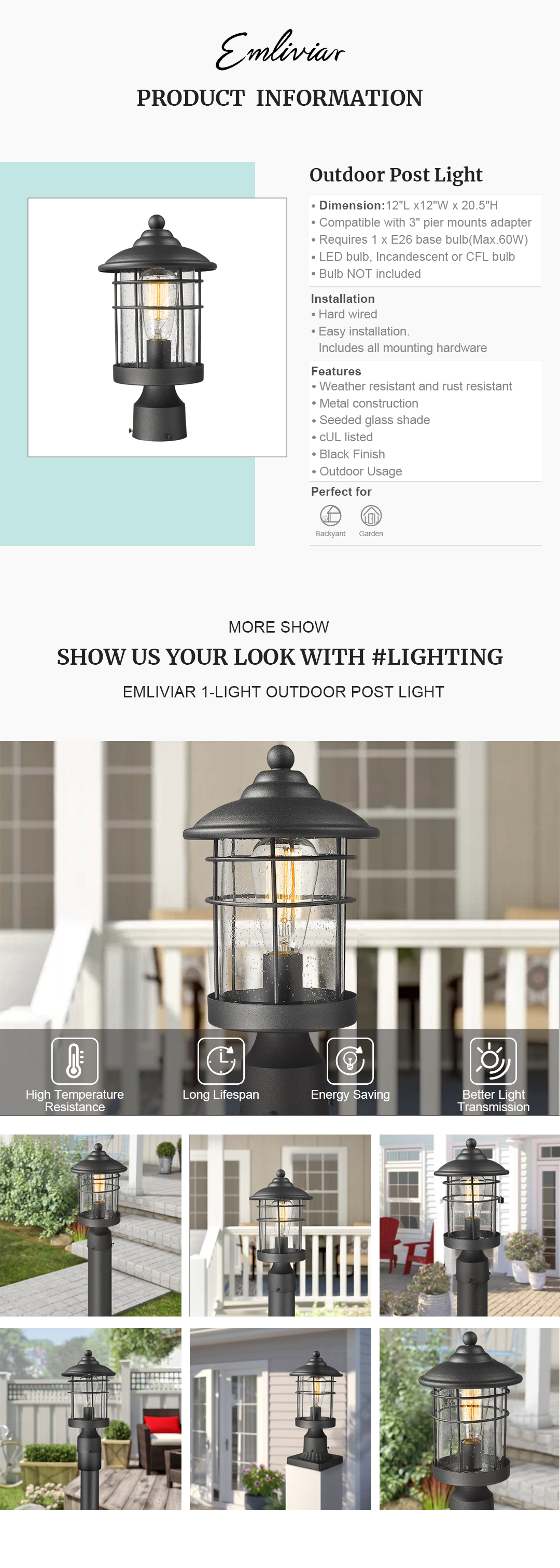 """Weather resistant and rust resistant, this exterior post light features sturdy metal construction and seeded glass shade, suitable for wet locations The pillar light can be mounted on a pillar or column, or fit it with a 3"""" diameter mounting base(Not included). Easy installation. Includes all mounting hardware Hard wired. Requires 1 x E26 base bulb(Max.60W). Bulb NOT included. Compatible with LED bulb, Incandescent or CFL bulb cUL Listed with a one-year warranty. This post mount light fixture is perfect for garden, backyard, courtyard, patio, balcony, porch, pathway or entryway. Dimension: 7.1"""" x 7.1"""" x 13.2""""(L x W x H); Compatible with 3"""" pier mounts adapter(Sold Separately)"""