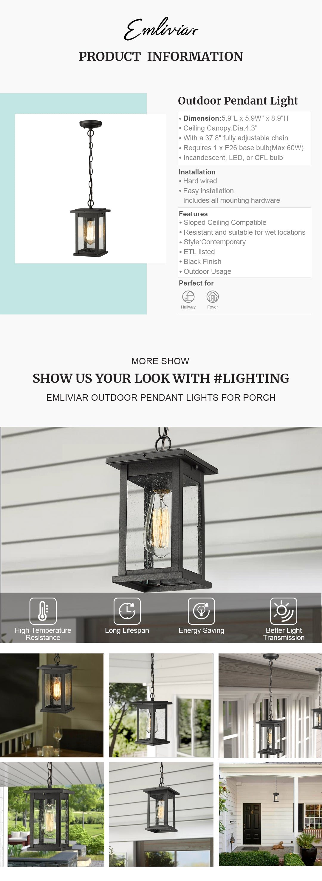 """Weather resistant and suitable for wet locations, this outdoor hanging lantern features sturdy metal construction and clear seeded glass in black finish Easy installation with open bottom to allow for easy bulb replacement. Includes all mounting hardware. cUL listed with a one-year warranty Hard wired. Requires 1 x E26 base bulb(Max.60W). Bulb NOT included. Available bulb type: incandescent, LED, or CFL bulb This exterior pendant light is sloped ceiling compatible, suit the needs of your space. Perfect for porch, patio, gazebo, foyer, garage, hallway and entryway Dimension: 5.9"""" x 5.9"""" x 8.9""""(L x W x H); Ceiling Canopy: Dia.4.3""""; With a 37.8"""" fully adjustable chain"""