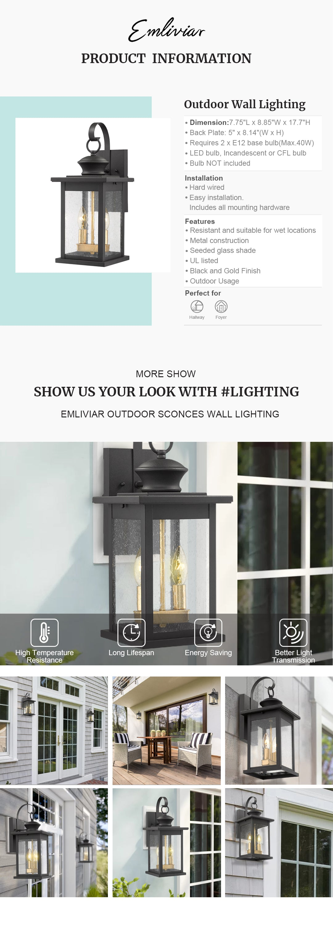 """Weather resistant and suitable for wet locations, this 2-light outdoor wall lantern features sturdy metal construction and seeded glass shade Easy installation with open bottom to allow for easy bulb replacement. Includes all mounting hardware Hard wired. Requires 2 x E12 base bulb(Max.40W). Bulb NOT included. Compatible with LED bulb, Incandescent or CFL bulb UL Listed with a one-year warranty. This outdoor wall light is perfect for porch, garage, hallway and entryway. Dimension: 7.75"""" x 8.85"""" x 17.7""""(L x W x H); Back Plate: 5"""" x 8.14""""(W x H)"""