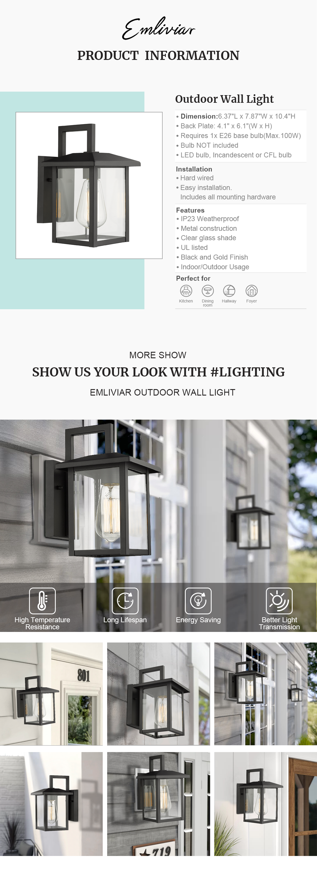 """Weather resistant and suitable for wet locations, this outdoor light fixture features sturdy metal construction and clear glass shade Easy installation with open bottom to allow for easy bulb replacement. Includes all mounting hardware Hard wired. Requires 1x E26 base bulb(Max.100W). Bulb NOT included. Compatible with LED bulb, Incandescent or CFL bulb UL Listed with a one-year warranty. This outdoor wall light is perfect for your house, porch, garage, hallway and entryway. Dimension: 6.37"""" x 7.87"""" x 10.4""""(L x W x H); Back Plate: 4.1"""" x 6.1""""(W x H)"""