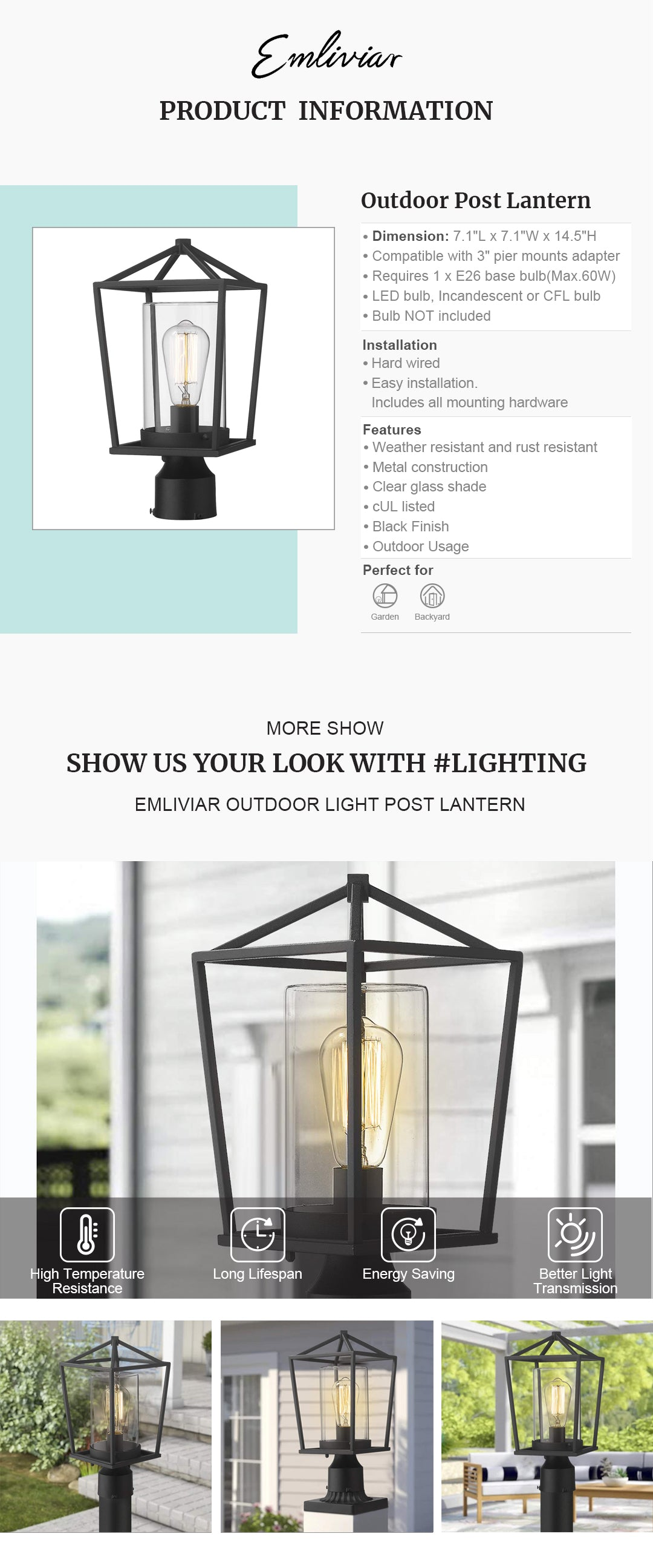 """Weather resistant and rust resistant, this outdoor post light features sturdy metal construction and clear glass shade, suitable for wet locations The pillar light can be mounted on a pillar or column, or fit it with a 3"""" diameter mounting base(Not included). Easy installation. Includes all mounting hardware Hard wired. Requires 1 x E26 base bulb(Max.60W). Bulb NOT included. Compatible with LED bulb, Incandescent or CFL bulb cUL Listed with a one-year warranty. This post mount light is perfect for garden, backyard, courtyard, patio, balcony, porch, pathway or entryway. Dimension: 7.1"""" x 7.1"""" x 14.5""""(L x W x H); Compatible with 3"""" pier mounts adapter(Sold Separately)"""