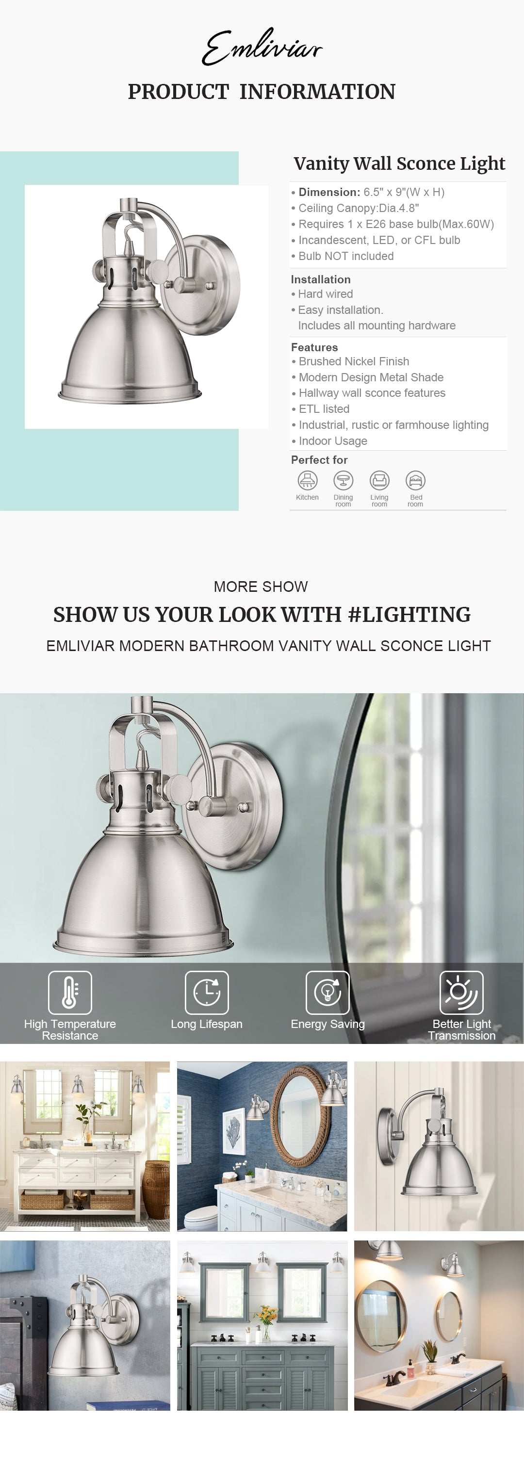 """Modern 1-light hallway wall sconce features metal construction in brushed nickel finish, perfect for industrial, rustic or farmhouse lighting Perfect for your bathroom, bedroom, dining room, kitchen, living room, corridor, entryway Hard wired. Requires 1 x E26 base bulb(Max.60W). Bulb NOT included. Compatible with LED bulb, Incandescent or CFL bulb Easy installation. Includes all mounting hardware. ETL Listed with a one-year warranty Dimension: 6.5"""" x 9""""(W x H); Extends 8.3"""" from the wall; Back Plate: 4.8"""" in dia"""