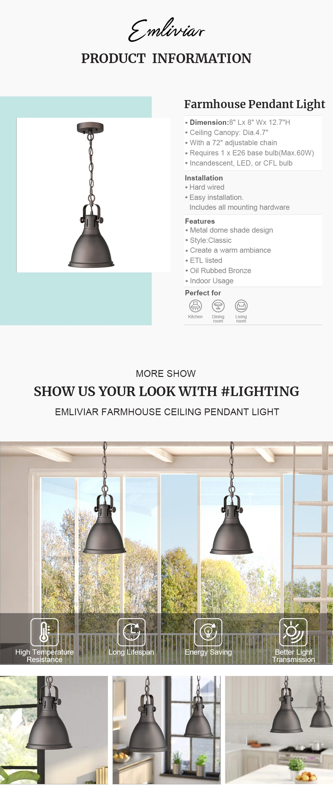 """Vintage hanging light fixture features sturdy metal dome shade design, with oil rubbed bronze finish, create a warm ambiance to any space Easy installation. Includes all mounting hardware. This ceiling hanging light is sloped ceiling compatible, suit the needs of your space ETL listed with a one-year warranty. This farmhouse pendant light is perfect for kitchen, dining room, living room, foyer, warehouse, cafe, club, bar and restaurant Hard wired. Requires 1 x E26 base bulb(Max.60W). Bulb NOT included. Available bulb type: incandescent, LED, or CFL bulb Dimension: 8"""" x 8"""" x 12.7""""(L x W x H); Ceiling Canopy: Dia.4.7""""; With a 72"""" adjustable chain"""