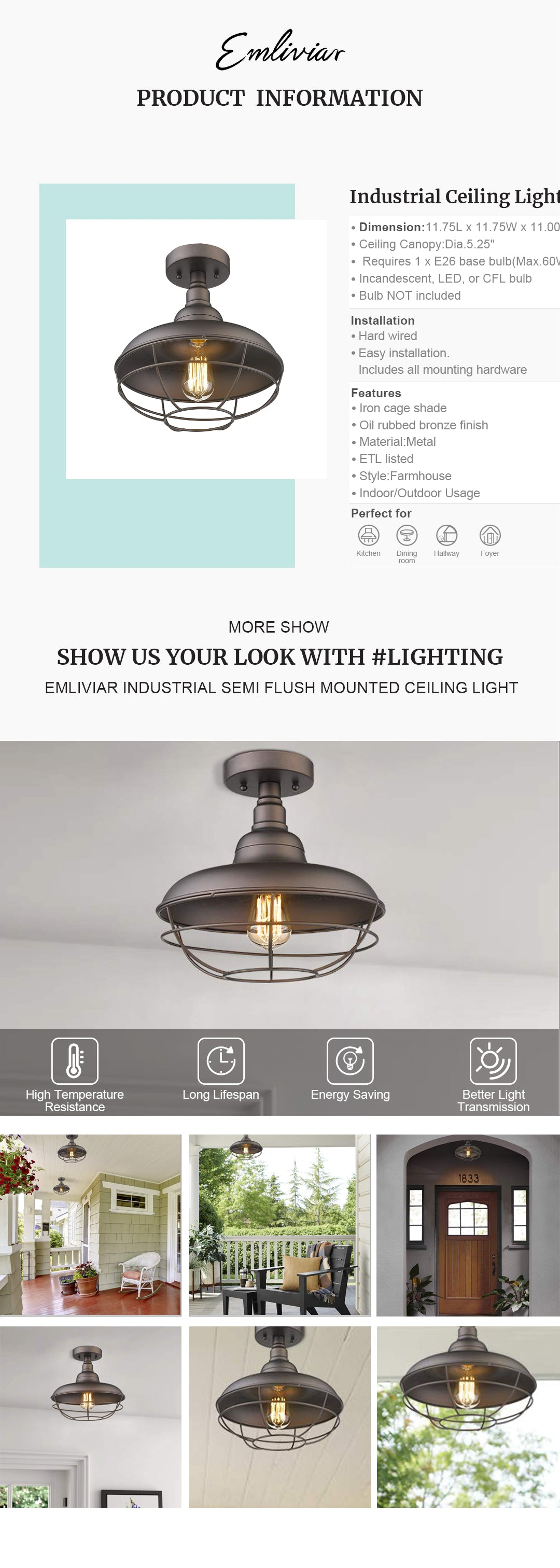 """Vintage semi-flush mount ceiling light features a iron cage shade and oil rubbed bronze finish This farmhouse ceiling light is perfect for kitchen, bedroom, hallway, foyer, indoor and outdoor usage Easy installation. Includes all mounting hardware. ETL listed with a one-year warranty Hard wired. Requires 1 x E26 base bulb(Max.60W). Bulb NOT included. Available bulb type: incandescent, LED, or CFL bulb Dimension: 11.75"""" in diameter, 11"""" in height"""