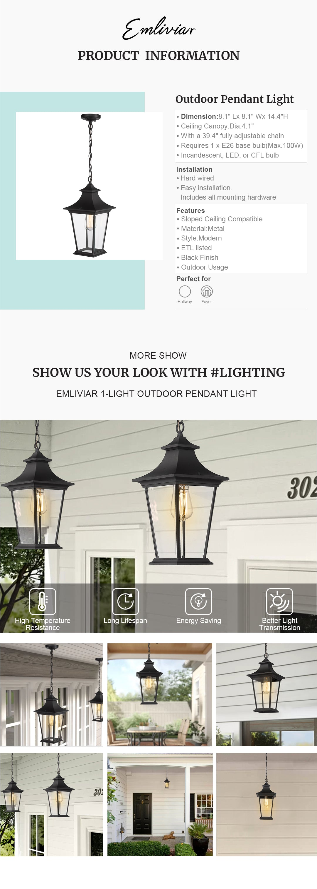"""Weather resistant and suitable for wet locations, this outdoor hanging light features sturdy metal construction and clear glass shade in black finish Easy installation with open bottom to allow for easy bulb replacement. Includes all mounting hardware. ETL listed with a one-year warranty Hard wired. Requires 1 x E26 base bulb(Max.100W). Bulb NOT included. Available bulb type: incandescent, LED, or CFL bulb This exterior pendant light is sloped ceiling compatible, suit the needs of your space. Perfect for porch, patio, gazebo, foyer, garage, hallway and entryway Dimension: 8.1"""" x 8.1"""" x 14.4""""(L x W x H); Ceiling Canopy: Dia.4.1""""; With a 39.4"""" fully adjustable chain"""