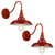 Emliviar Barn lights Barn Light Sconce Two Pack Industrial Lighting in Red Finish