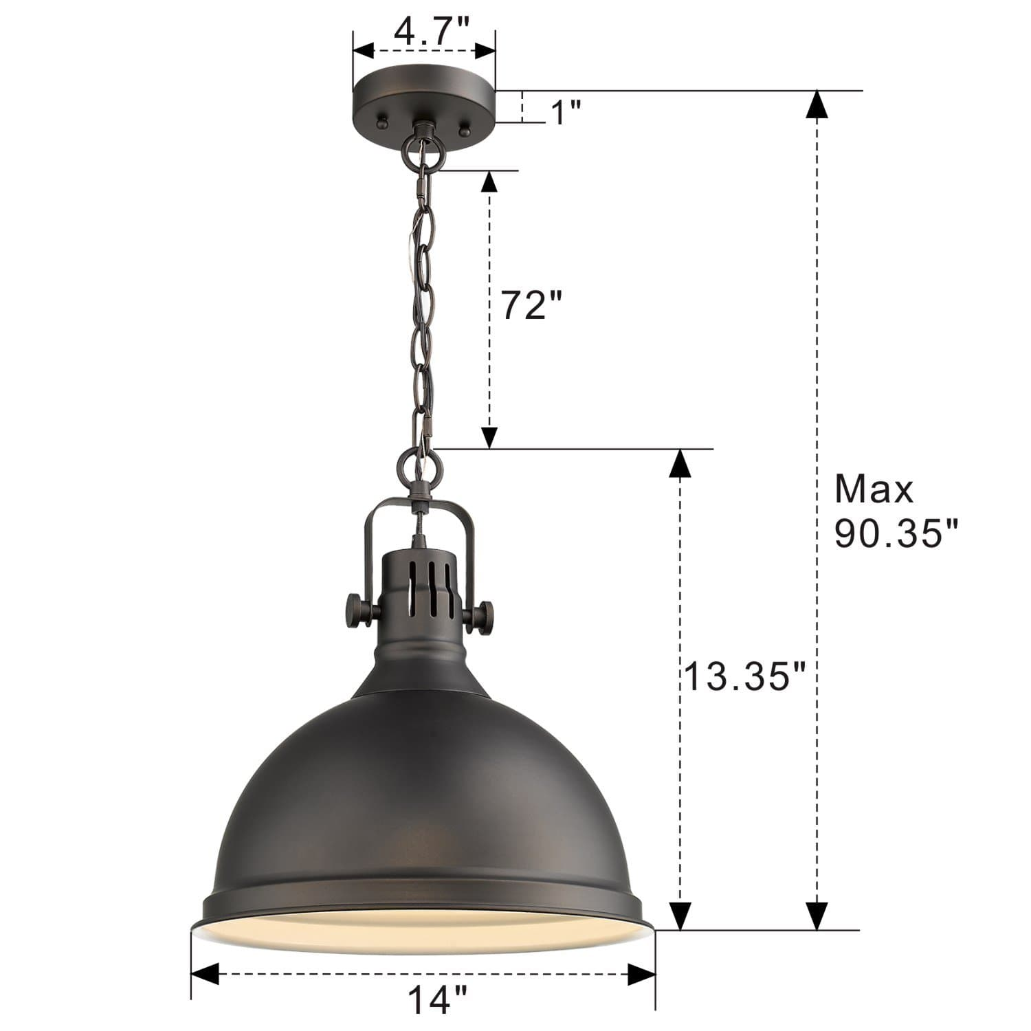 Emliviar 14 Inch Farmhouse Ceiling Pendant Light Vintage Metal Hanging Light With Dome Shade Oil Rubbed Bronze Finish 4054l Orb Ltmate Com