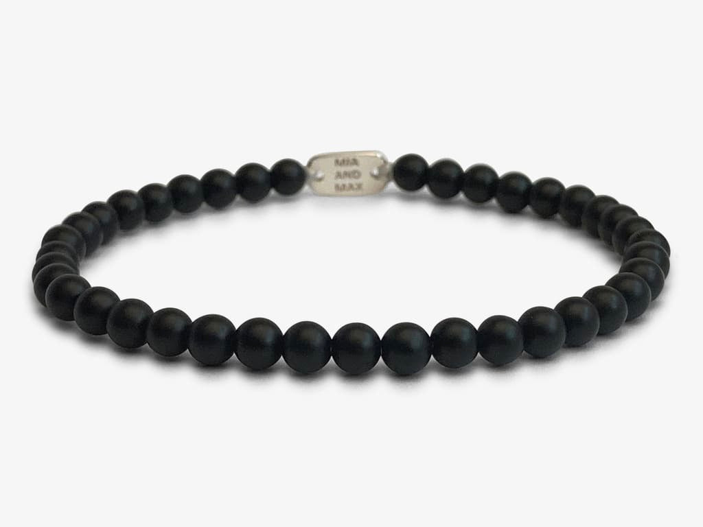 The 'Matte Black' Onyx Stone-Bead Bracelet | 4mm Beads