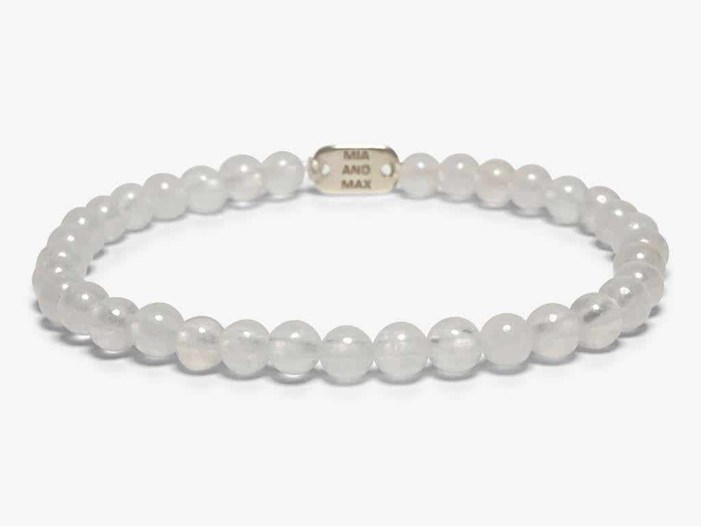 The White JADE Bead Bracelet | Stretch | 4mm Beads