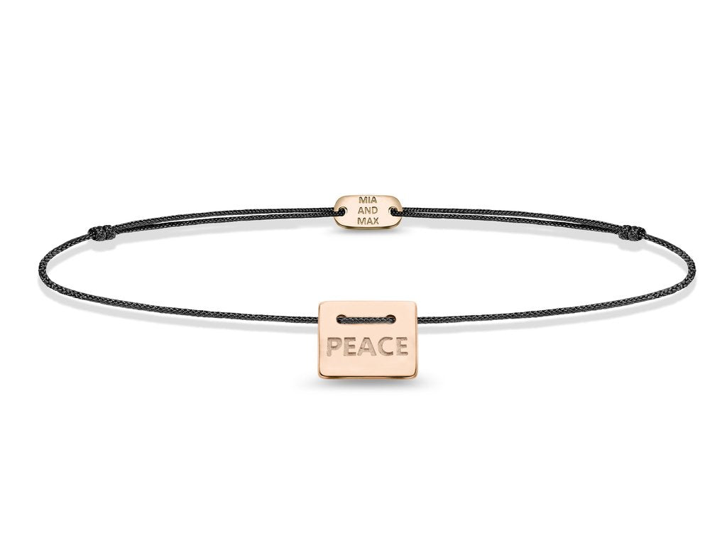 Peace Friendship Bracelet Sterling Silver Charm Rose Gold MiaMAx