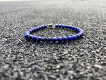 Load image into Gallery viewer, The 'Blue' Lapis Lazuli Stone-Bead Bracelet | 4mm Beads