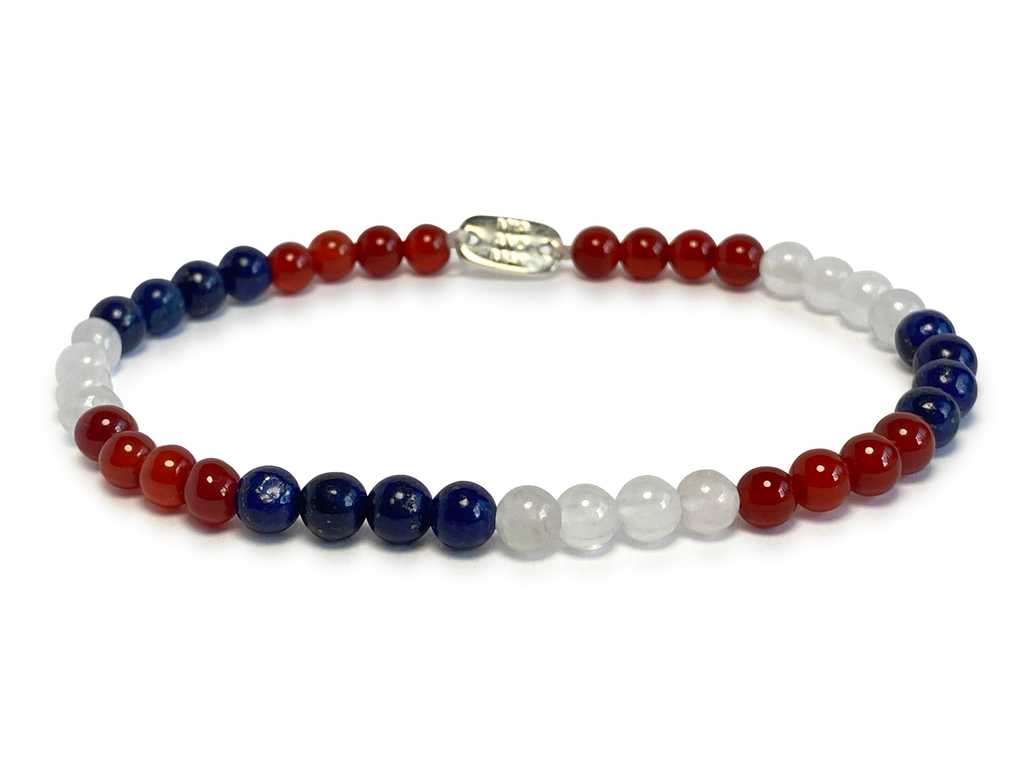 The 'Red White and Blue' Stone-Bead Bracelet | 4mm Beads