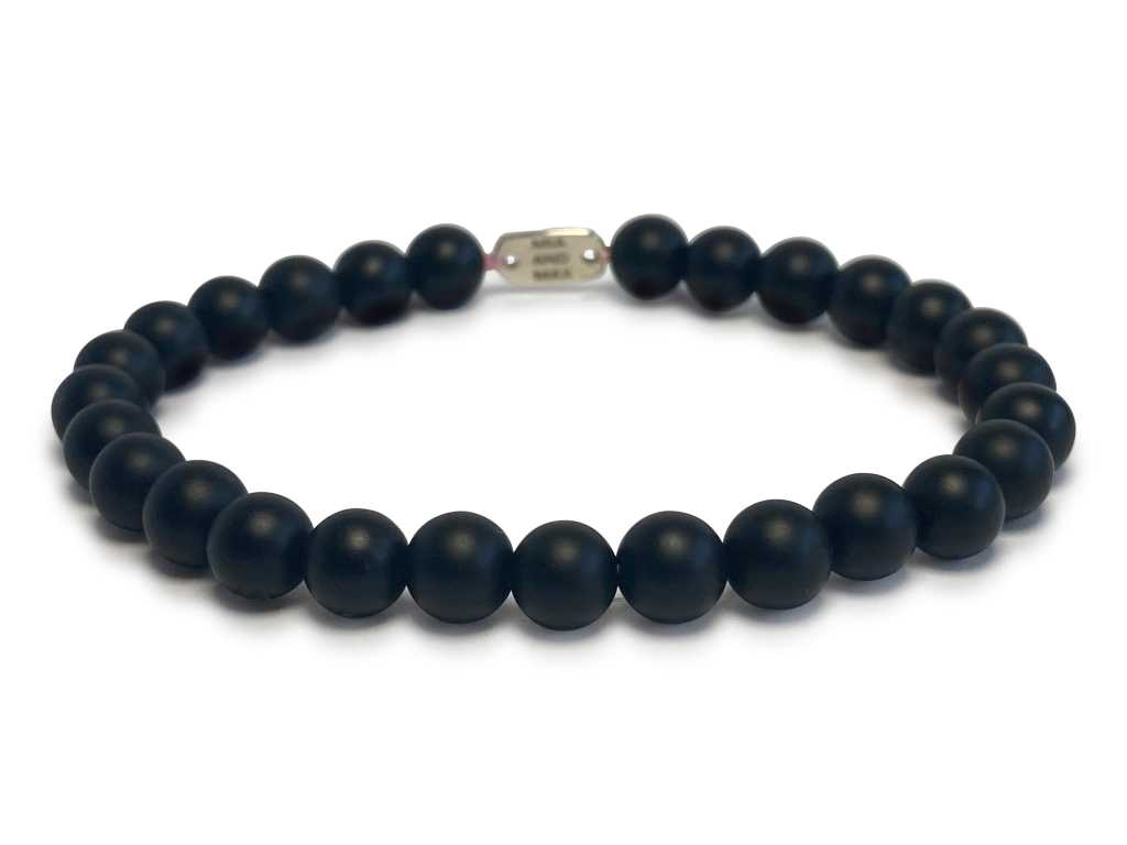 The 'Matte Black' Onyx Stone-Bead Bracelet | 6mm Beads