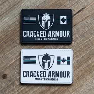 Black and white Cracked Armour patches with velcro backing