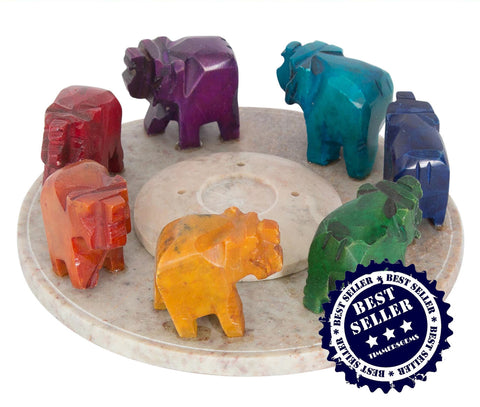 Chakra Elephant Ring tealights and / or incense holder (our most popular chakra article)