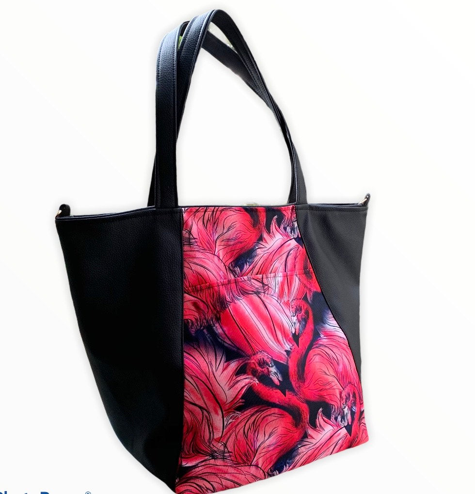 Un CITY BAG noir & flamants rouges